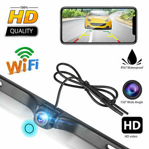 WiFi Car Rear View Cam License Plate Backup Reverse Camera Kit For Android & IOS