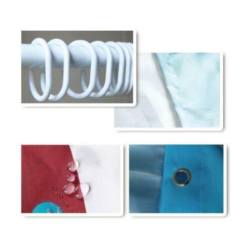 Fabric Shower Curtain Set Christmas Elements Santa Claus Bathroom Decor Hooks
