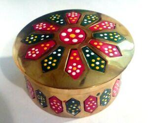 Round Brass Box - enamel decoration
