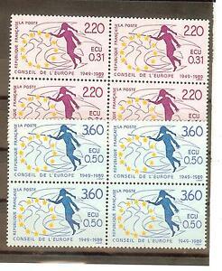 TIMBRES-DE-SERVICES-CONSEIL-DE-L-039-EUROPE-YVERT-N-100-a-01-NEUF-BLOCS-DE-4