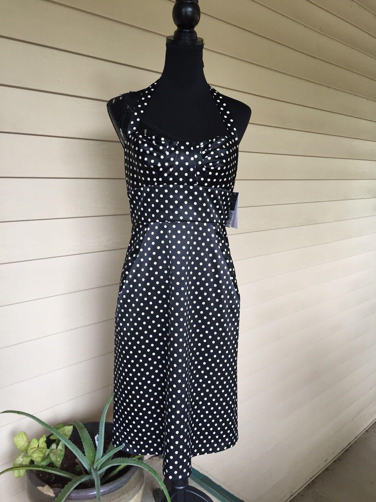 605d47ed776898 damen Ricco schwarz Polka Dot Dress Größe 8 Halter nohmhv3166 ...