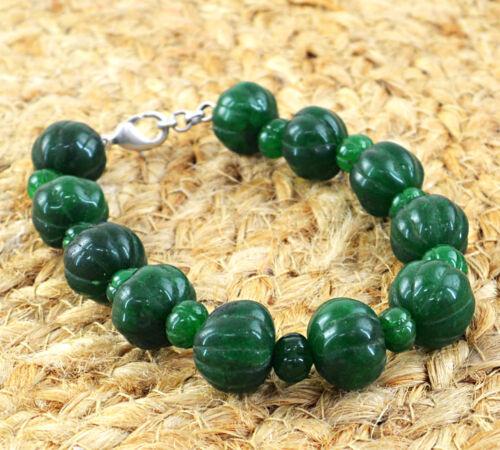 255.00 cts Earth mined vert émeraude forme ronde sculpté perles Handmade Bracelet