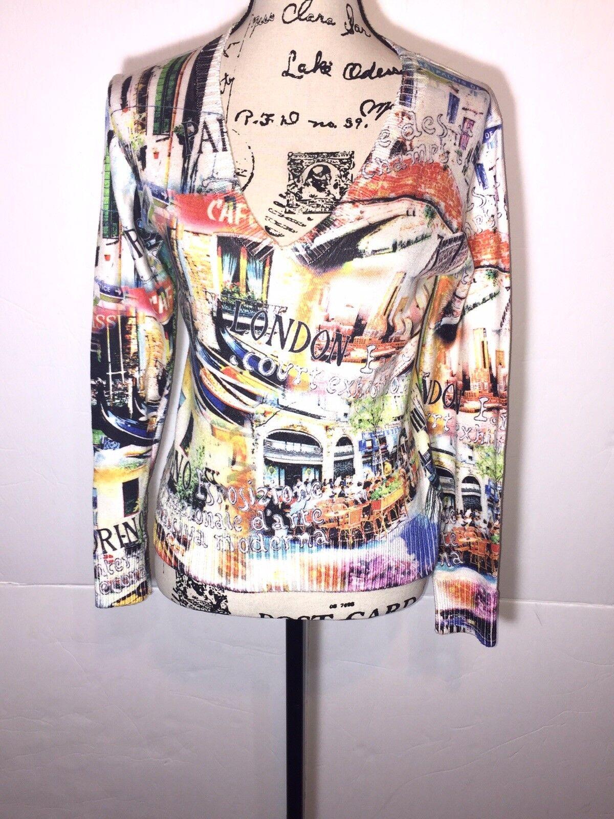 Etoile Du Monde Cafe Graphic Sweater Size 2 White