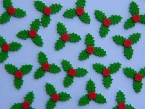30 edible CHRISTMAS MINI HOLLY cupcake cake topper decoration XMAS LEAVES
