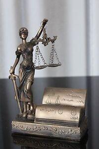 Details Zu Justitia Figur Visitenkartenhalter 19cm Bronze Deko Göttin Recht Anwalt Notar