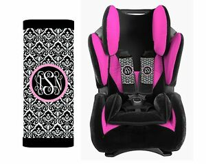 Personalized-Baby-Toddler-Car-Seat-Strap-Covers-Set-of-2-Black-Damask-Pink