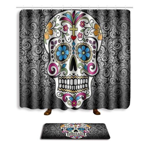 Skull Hear Some Evil Shower Curtain Set Bath Mat Bathroom Non-Slip Bathmat