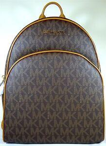 792e2e9c9535 MICHAEL Michael Kors Abbey Signature Brown Acorn PVC Large Backpack ...