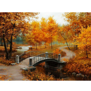 40x30cm-Autumn-Scenery-DIY-Paint-By-Numbers-Oil-Painting-Kit-Canvas-NEW