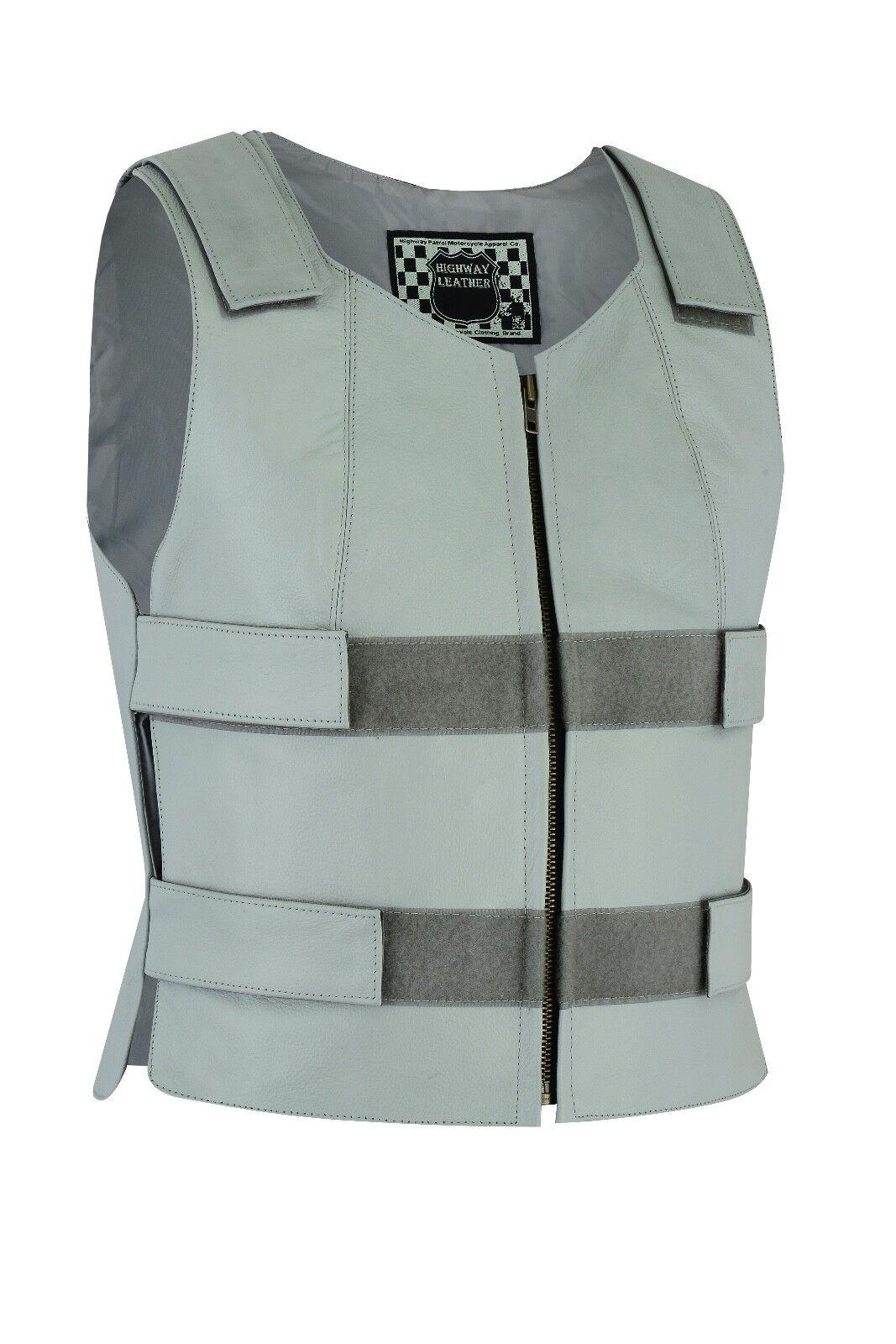 Damens grau Bullet Proof style Leder Vest for bikers Club Tactical Grau Vest