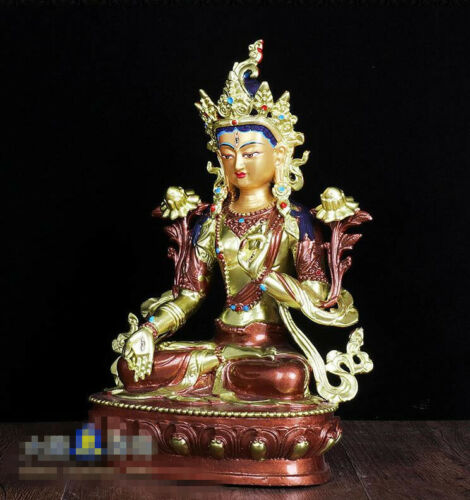 "8/"" Asian Antique Tibetan Buddhism copper gilt hand painting White Tara statue"
