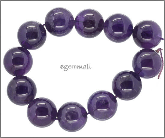 """12 Natural Amethyst Round Beads ap. 16mm 7.5"""" #55111"""