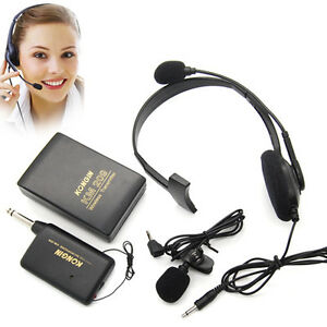 handsfree tie clip head wireless fm microphone mic transmitter receiver kits ebay. Black Bedroom Furniture Sets. Home Design Ideas