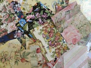 Vintage-Lot-50-Pcs-Gift-Wrap-Paper-FLORAL-Crafts-Decoupage-Assorted-Sizes