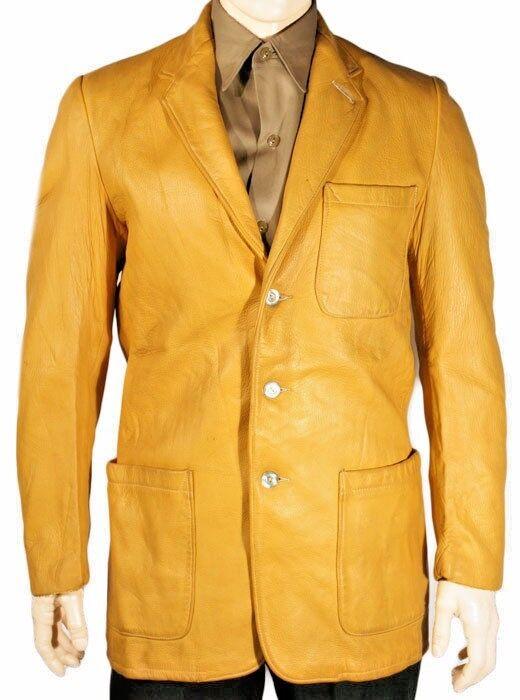 Three Button Vintage Style New Yellow Soft Lambskin Leather Blazer For Men KB35