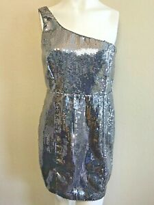 Forever-21-Juniors-Large-Dress-Silver-Sequin-Short-Party-Dress-Shimmer-Shine