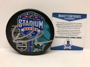 Drew-Doughty-Signed-LA-Kings-Sharks-2015-Stadium-Series-Hockey-Puck-Dodgers-BAS