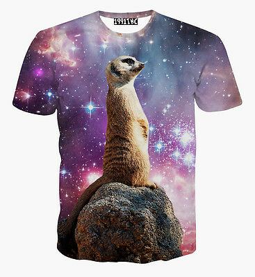 2015 New Sexy Funny 3D Print Space Galaxy Animal Thinker Casual Top Tee T Shirt