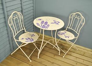 Image is loading Butterfly-Themed-Metal-Garden-Patio-Bistro-Furniture-Set- & Butterfly Themed Metal Garden Patio Bistro Furniture Set for Two by ...