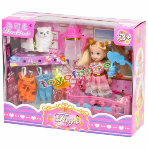 Princess Mini Bed Change Clothes Play Doll Toy Set for Girls Kids Birthday Gift