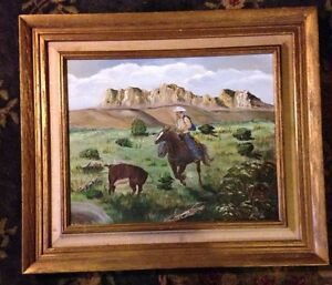 Details About Vintage Oil Painting Cowboy Roping Steer Cow Western Art Nice Detail Gr Frame