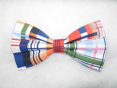 PRE-TIED BOW TIE- PATCHWORK MADRAS PLAID-RED, BLUE, ORANGE, GREEN & PINK