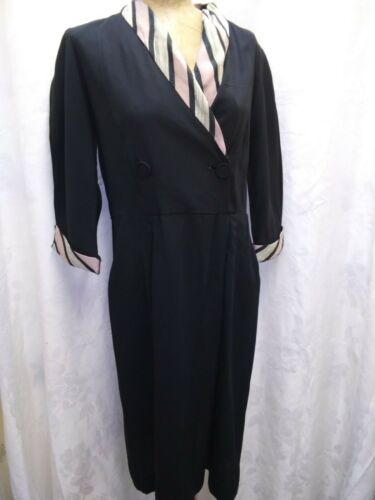 Vintage 1930's 40's Black Rayon Pink Gray Dress by