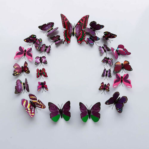12 Pcs 3D Butterfly Wall Stickers Creative Colorful Window Poster Home Decor