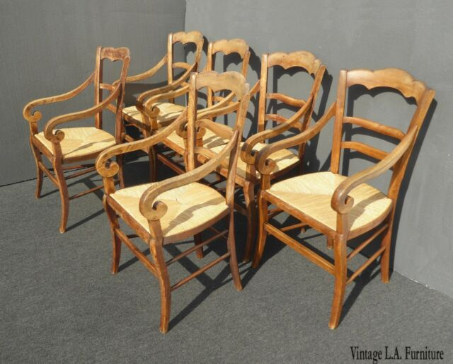 Set of Six Vintage French Country Rustic Oak Arm Chairs w Rush Seats