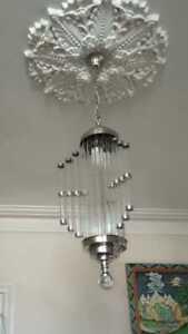 VINTAGE-ART-DECO-NICKEL-BRASS-amp-ROD-GLASS-CEILING-FIXTURE-CHANDELIER-LIGHT-LAMP