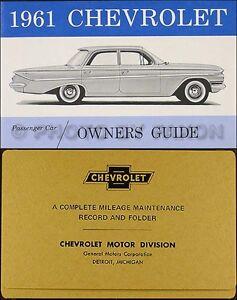 1961 Chevy Manuel Du Propriétaire Et Enveloppe 61 Ss Impala Biscayne Bel Air Ebnjistz-08000638-723657460