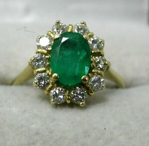 Beautiful Quality 18 carat Emerald And Diamond Cluster Ring Size J.1/2