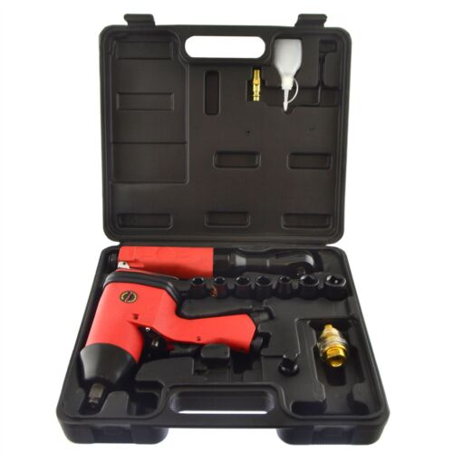 1/2 Drive Impact Gun Wrench 3/8 Drive Air Ratchet Plus 7 Impact Sockets