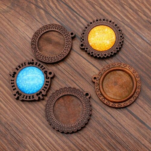 10pcs Wooden Pendant Tray Brown Hollow Wood Cabochon Base Blank Diy Fit 25mm Dia