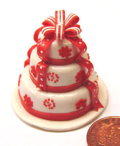 1 12 Scale White Red 3 Tier Wedding Cake Dolls House Miniature