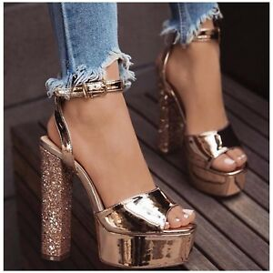 So Me Itis Rose Gold Platform Open Toe Ankle Strap Chunky