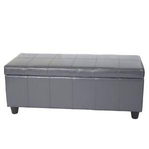 Banquette-Kriens-coffre-banc-cuir-similicuir-112x45x45cm-gris