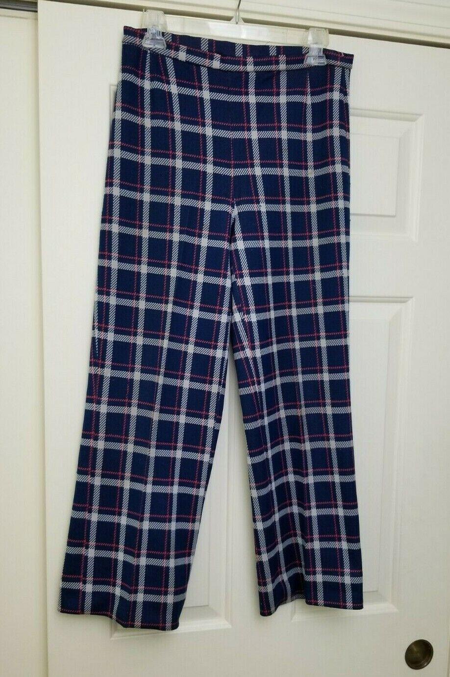 VTG 70s 80s Women's Bleyle Plaid Pants Blue Red W… - image 4