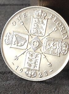 1923 High grade George 5th silver Florin 2 two shilling coin Free uk PampP - <span itemprop=availableAtOrFrom>Belfast, United Kingdom</span> - 1923 High grade George 5th silver Florin 2 two shilling coin Free uk PampP - Belfast, United Kingdom