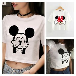 62d8806637f3ad MICKEY MINNIE MOUSE Disney Crop Tank Top T SHIRT Tee CROPPED Cute ...
