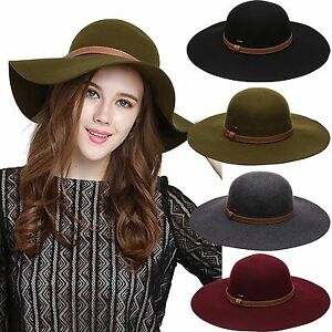f45d72738d7e69 Women's Crushable Pure Wool Wide Brim Floppy Trendy Fedora Hat Warm ...