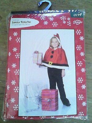 Inventivo Santa Poncho Età 7-9 Costume Babbo Natale Natale Cape Giornata Mondiale Del Libro-mostra Il Titolo Originale