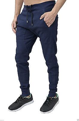 Mens Boys AD Navy Blue Skinny Slim Joggers Jogging Sweat Pants Bottoms Gym Jog