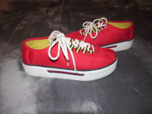 9348e7a9ac6ace Details about VINTAGE 1990 TOMMY HILFIGER RED CHUNKY PLATFORM SHOES  SNEAKERS block logo SIZE 8