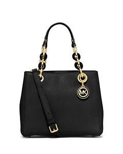 Michael Kors Cynthia Small Satchel Bag Black Gold Leather 30s5gcys1l