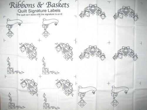 Schleifen /& Körbe Patchwork Quilt Stoff Quilt-Labels Ribbons /& Baskets