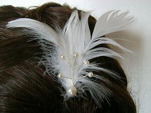 Pic-Epingle-a-Cheveux-Chignon-couleur-Ivoire-Blanc-p-robe-Mariee-Mariage-plumes