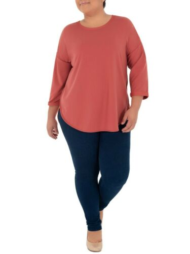 Terra /& Sky Women/'s Plus Size Super Soft French Terry Coral 3//4 Sleeve Tunic Top