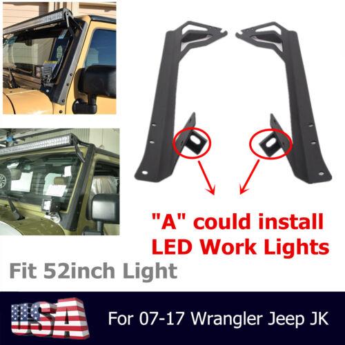 2007-2018 Jeep Wranger JK Upper/&Lower Mounting Brackets for 52inch LED Light Bar