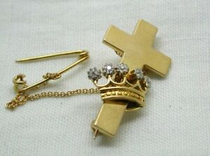 Antique-Victorian-Beautiful-18-carat-Gold-And-Diamond-Cross-And-Crown-Brooch